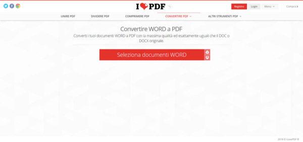 trasformare file Word in PDF iLovePDF