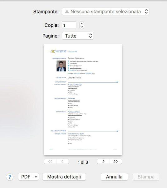 come stampare più pagine in un foglio con Mac 1
