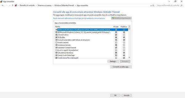 Rimuovi app da Windows Defender