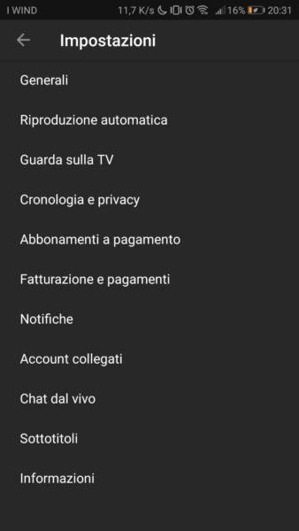 YouTube Impostazioni