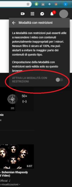 Youtube account Modalità con ristrezioni