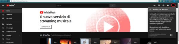 Youtube modalità con restrizioni