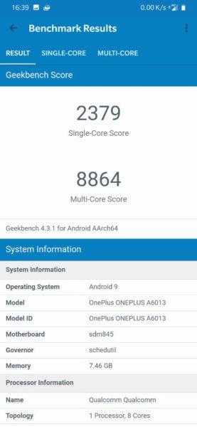 OnePlus 6T geekbench