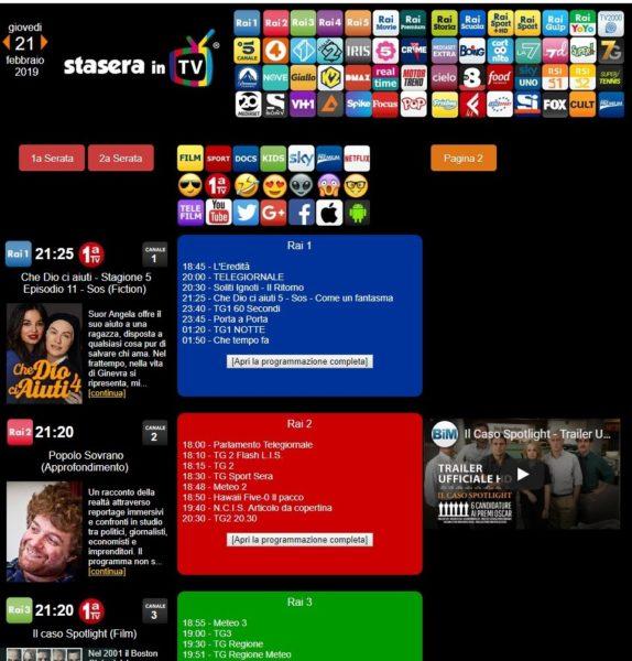 Stasera in TV-siti e app per i palinsesti-Stasera in TV
