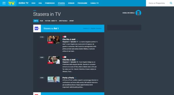 Stasera in TV-siti e app per i palinsesti-TV Sorrisi e Canzoni