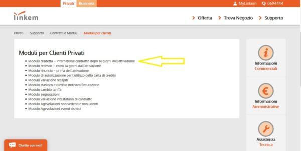 Come disdire Linkem - pagina moduli clienti privati