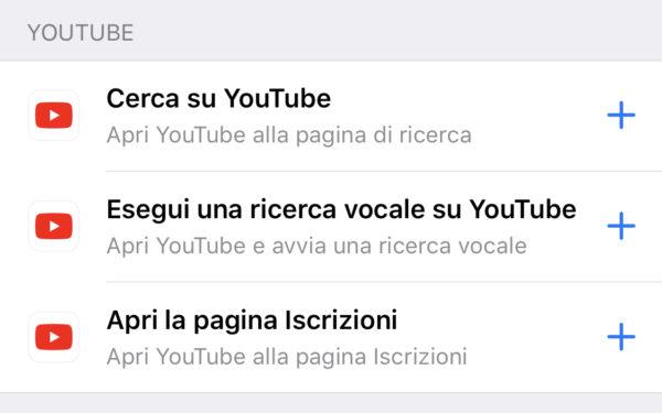 Comandi YouTube Siri