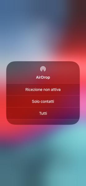 Attivare AirDrop su iPhone e iPad