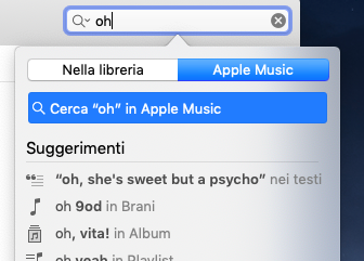 cercare testo apple music mac