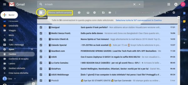 come trovare e cancellare email gmail