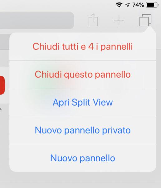 chiudere pannelli safari su iPhone e iPad