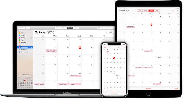 ios12 macos mojave macbook ipad pro iphone x icloud calendar subscriptions hero