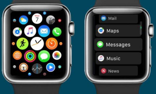 Modificare la vista delle applicazione su Apple Watch