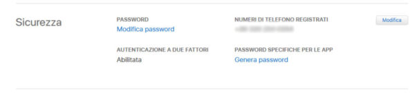 Come cambiare password iCloud