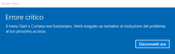 Errore critico menu Start su Windows 10: come risolvere