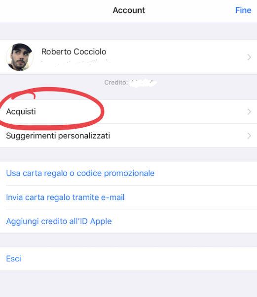 Come visionare la cronologia degli acquisti su App Store