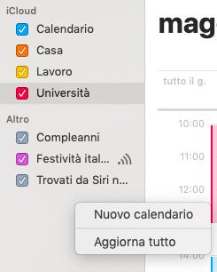 Aggiungere un calendario su mac