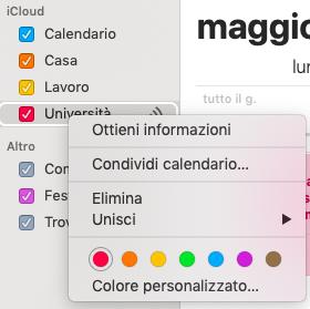 modificare un calendario su mac