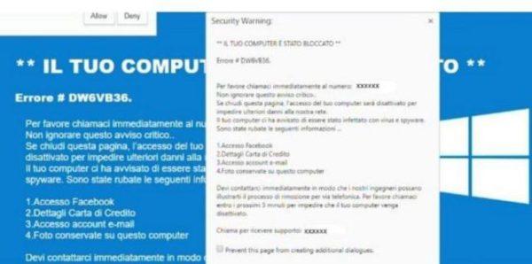 """Virus """"il tuo computer è stato bloccato"""": soluzioni"""