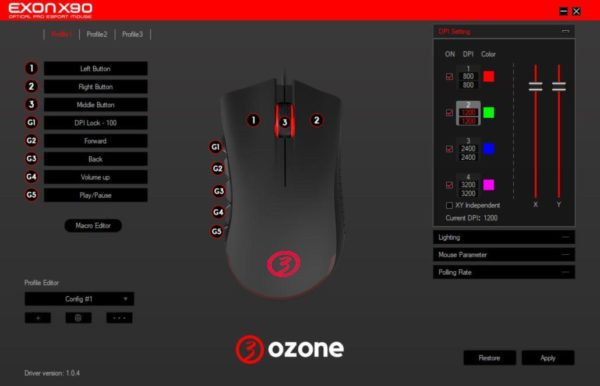 ozone exon x90 software