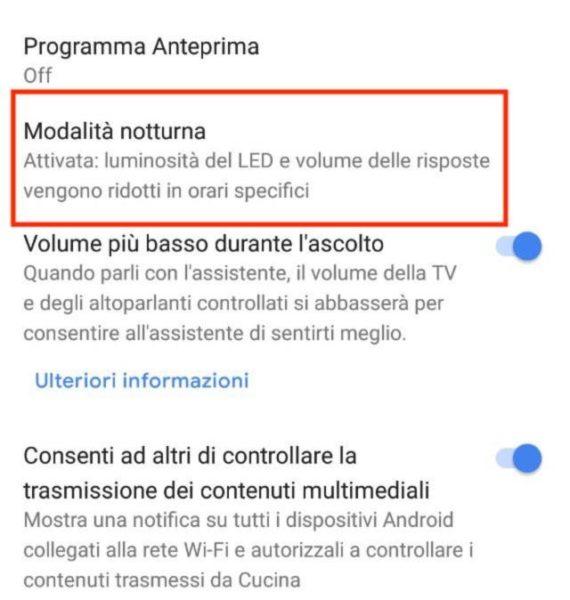 Come attivare la modalità notturna su Google Home 1