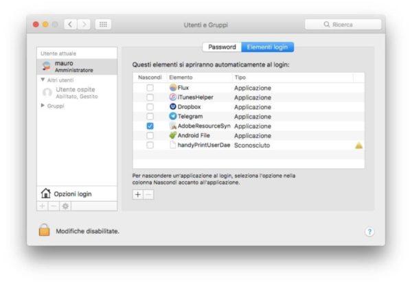 Come caricare app all'avvio su Mac