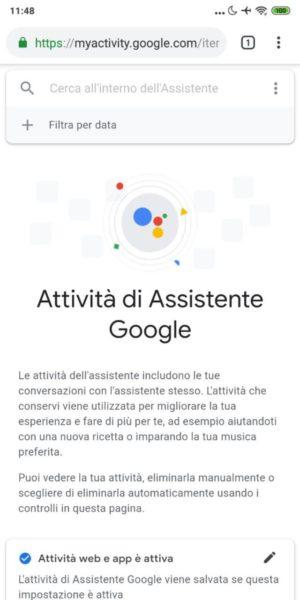 Come vedere la cronologia delle richieste fatte a Google Assistant