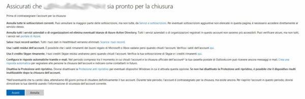 Come eliminare account Microsoft