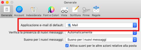 Modificare l'applicazione mail di default su Mac