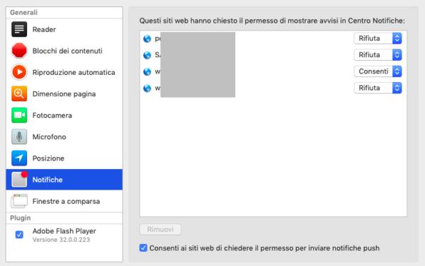 Come rimuovere le notifiche dai siti web su Mac