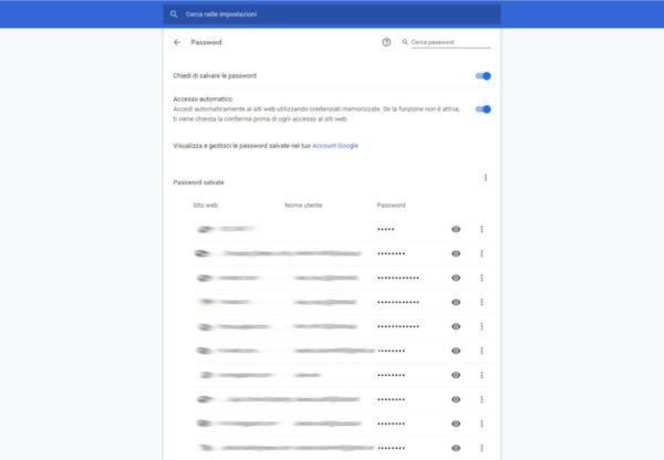 Come aggiornare le password salvate di Chrome