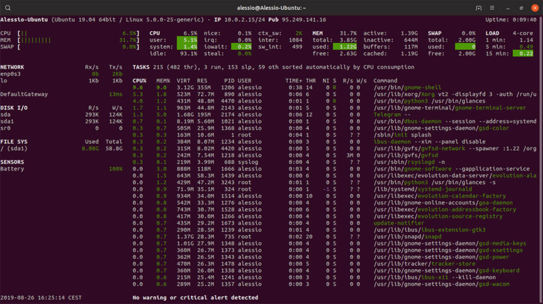 Come installare e configurare Glances su Linux 2