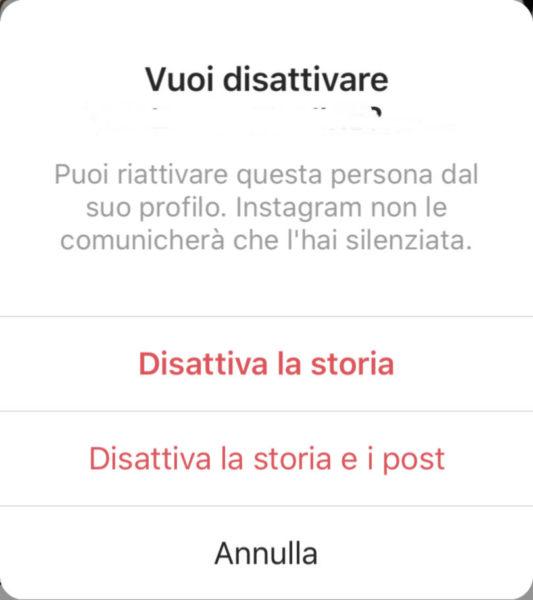 Come silenziare post e storie Instagram