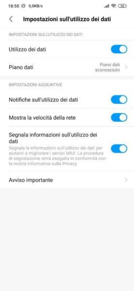 come attivare limite dati su Xiaomi