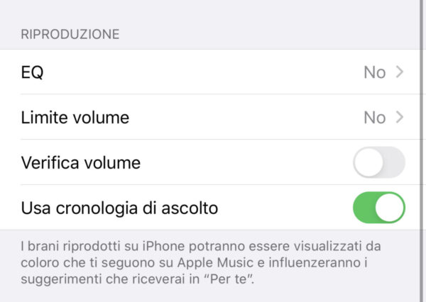 Equalizzare il suono di Apple Music