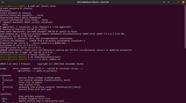 Come decomprimere RAR su Linux