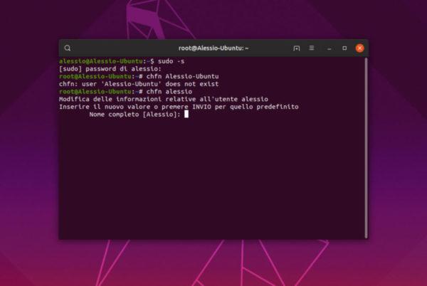 Come modificare informazioni utente su Linux
