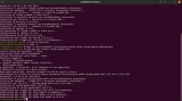 Come ripristinare modalità ibernazione su Ubuntu
