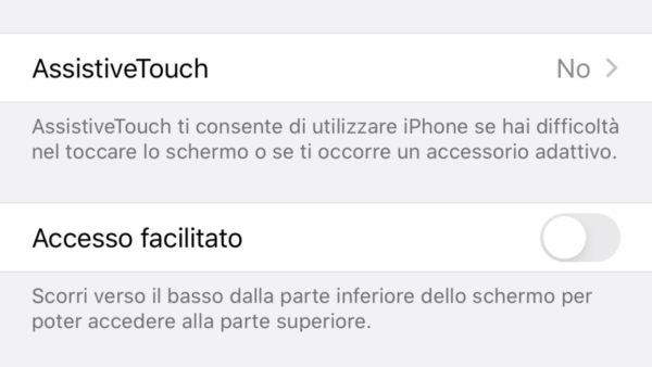 Attivare Reachability su iPhone X e successivi