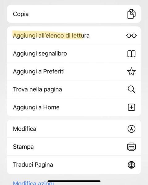 """Come salvare offline """"elenco lettura"""" di Safari su iPhone"""