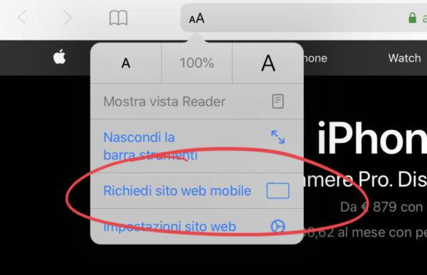 Come disattivare la visualizzazione desktop Safari su iPad