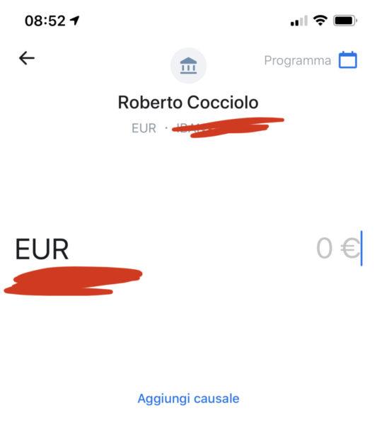 Programmare un pagamento con Revolut