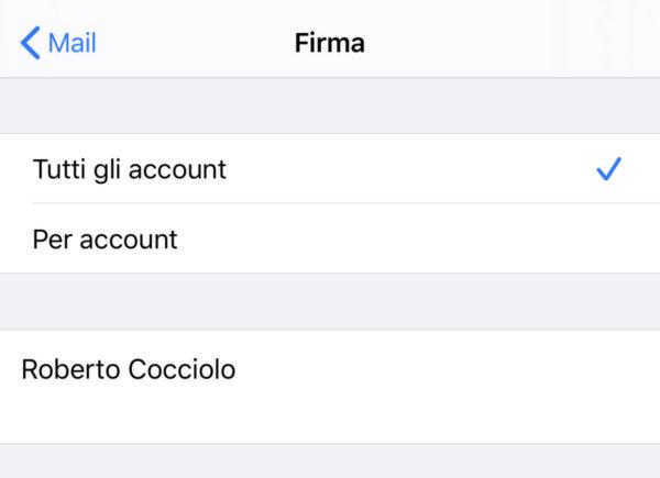 Modificare firma email su iPhone