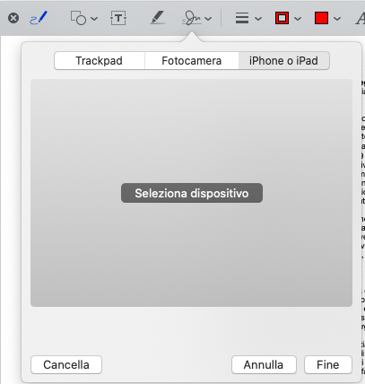 Firmare un PDF su Mac utilizzando iPad o iPhone