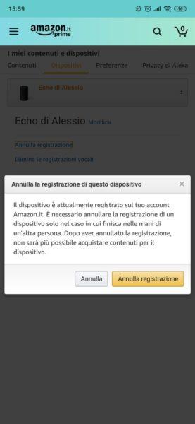 Come annullare la registrazione di un Amazon Echo