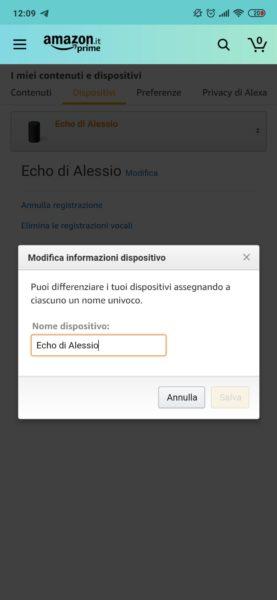 Come modificare il nome di Amazon Echo