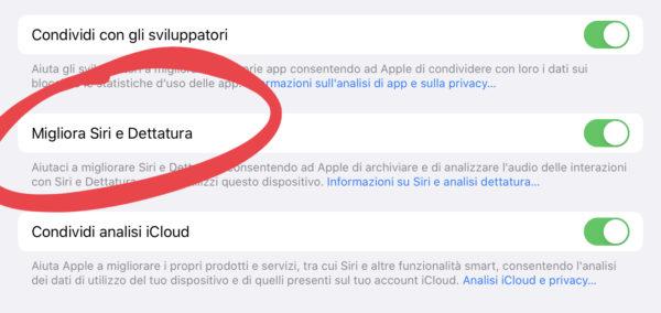 Come non consentire a Siri di inviare dati a Apple