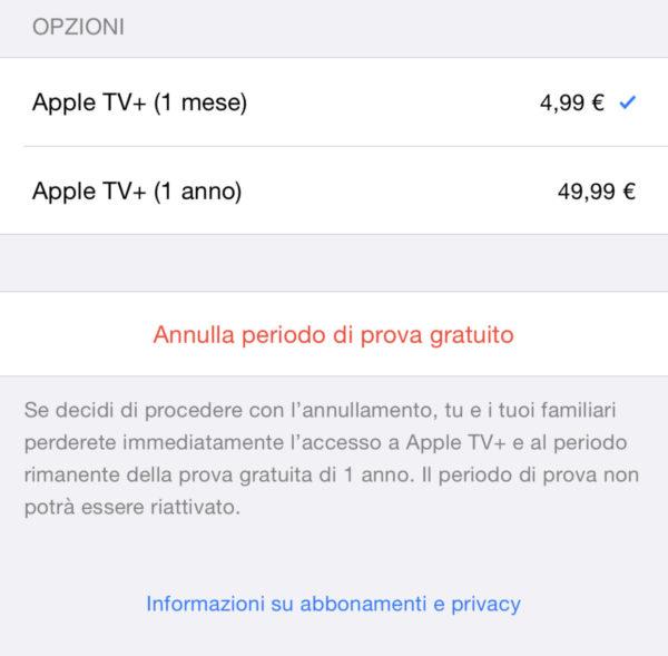 Come annullare abbonamento Apple TV+