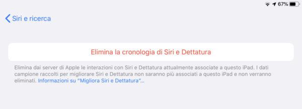 Eliminare la cronologia di Siri su iPhone