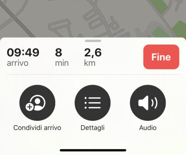 Condividere itinerario con Apple Mappe